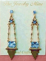 Vintage Inspired Art Deco Chandelier Earrings - Lt. Sapphire Austrian Crystal