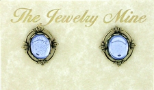 Vintage Inspired Victorian Style Austrian Crystal Button Earrings - Lt. Sapphire