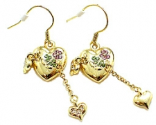 fashion heart charm earrings,victorian heart earrings,vintage heart earrings,antique fashion heart earrings