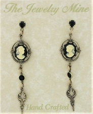 Vintage Inspired Victorian Style Cameo Drop Earrings - Jet