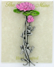 Frogs On Lily Vine Brooch Pin - Polished Pewter - Hand Painted - 'JJ' Artifacts