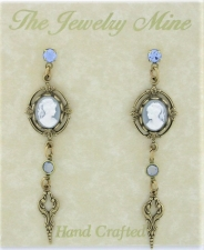 Vintage Victorian Blue Cameo Earrings w/Drop