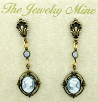 Wholesale Costume Jewelry | Vintage Look Victorian Style Cameo Drop Earrings - Blue