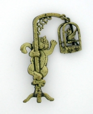 Cat w/Bird In Cage Brooch Pin - Polished Brass - 'JJ' Artifacts