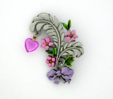 Flowers Heart & Bow Brooch Pin - Polished Pewter - Hand Painted - 'JJ' Artifacts